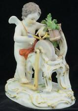 ANTIQUE MEISSEN PORCELAIN CUPID SHARPENING ARROW INCISED NUMBERS NICE