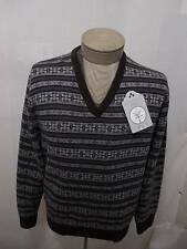 Daniel Cremieux Men's 100% Wool Nordic V-Neck Sweater Brown Black Fair XL $125