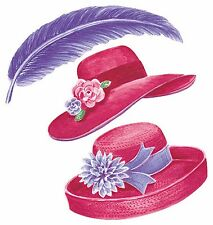 RHS Red Hat Society Garden Hats Purple Feathers 25 Wallies Stickers Decals Decor