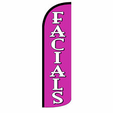 Facials Windless Swooper Feather Flag Tall Banner Sign 3' Wide Pink White