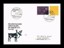DR JIM STAMPS PRO AERO ZURICH HELSINKI AIRMAIL SWITZERLAND EUROPEAN SIZE COVER