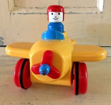 Battat Preschool Pump and Go Yellow Toy Airplane Plastic Works Well Moves Fast