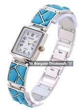 ladies turquoise stone silver tone designer-style fashion watch link bracelet