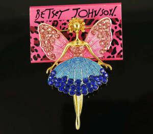 Fashion Enamel Full Rhinestone seed Wing Angel pink Girl Brooches Betsey Johnson