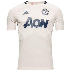 Adidas Manchester United Kids White Short Sleeved 16/17 Premium Training Top AP1