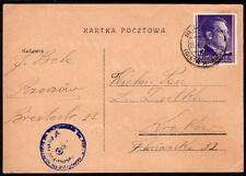 363 POLAND GERMANY OCCUPATION CENSORED CARD 1944 RZESZOW - KRAKOW