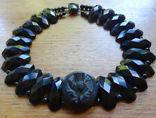 HUGE antique Victorian WHITBY JET thistle flower cameo collar necklace -C245