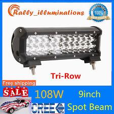 "9"" Tri-row 108W LED SPOT Light 7D LENS Driving Fog Lamp 4X4WD Jeep Boat PK 54W"