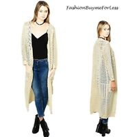 Haute BOHO Western Open Gypsy Eyelet Cream Hippie Long Sweater Cardigan S M L
