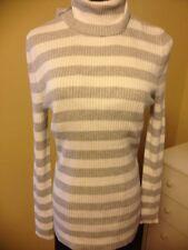 ItsOurTime TutleNeckPullOn Sweater Grey/White Stripes LongSleeves  Sz XL