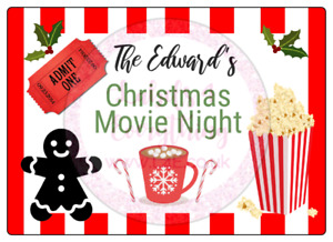 Personalised Christmas Movie Night Large Stickers Birthday Party Bag Sweet Box