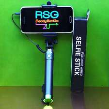 WIRED SELFIE STICK Foldable Black/Green  Extends 80cm Wrist strap iPhone+Android