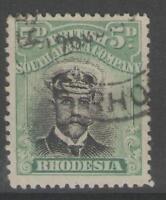 RHODESIA SG226 1913 5d BLACK & GREY-GREEN HEAD DIE II p14 USED