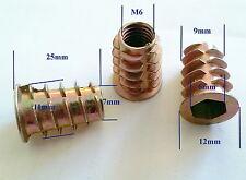 Qty 10 M6-25 Wood Threaded Flange Inserts Nuts Zinc Steel Alloy Insert Nut
