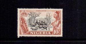 NIGERIA 1953 10/- BLACK & RED-BROWN SG79 MNH CAT £25