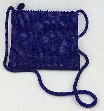 Blue Beaded Messenger Crossover Handbag