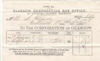 GLASGOW CORPORATION GAS OFFICE, Virginia St. 1881 Gas Consumed Invoice Ref 48977