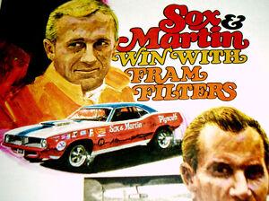 1970 PLYMOUTH BARRACUDA AD *Sox & Martin/Drag racing/426 HEMI/decal/poster/MOPAR