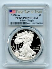 2020 W $1 Proof Silver Eagle PCGS PR69DCAM First Day of Issue FDOI