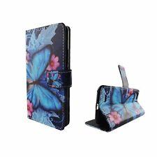 Schutz Hülle für Handy ZTE Blade V6 Blauer Schmetterling Tasche Wallet Cover Neu