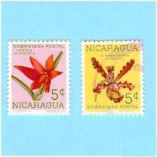1962 Nicaragua Flower Stamps Orchids- 2 Stamps