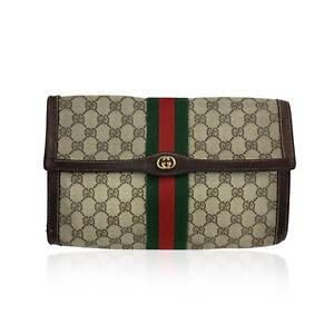 Authentic Gucci Vintage Monogram Canvas Flap Cosmetic Bag Clutch