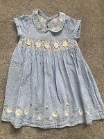 Jojo Maman Bebe Girls Dress Age 12-18 Months Blue White Stripe