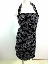 $118 NWT DONNA RICCO WOMENS BLACK & WHITE EMBROIDERED COTTON SUN DRESS SIZE 10P