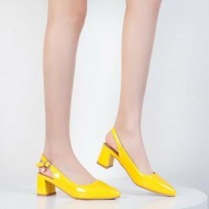 Women Block Mid Heel Slingback Pointed Cap Toe Sandals Shiny Patent Leather Shoe