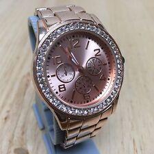 Stylish FMD Mens Rose Gold Tone Rhinestone Analog Quartz Watch Hours~New Battery