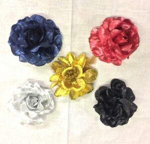 Plain Shiny 3 in 1 Flowers Feather Hair Clips Wedding Ladies Girls Party Set B4