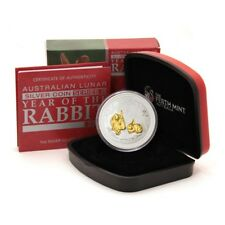 Australia Year of the Rabbit $1 2010 1 Oz Gilded Proof Silver Crown Mint Box & C
