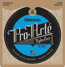D'Addario EJ50 Pro-Arté Black Nylon HARD Tension Classical Guitar Strings