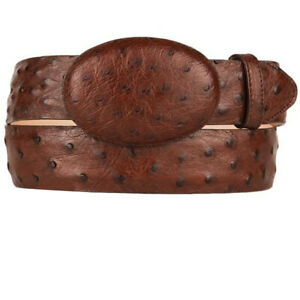 Men's Los Altos Genuine Full Quill Ostrich Western Cowboy Belt Removable Buckle