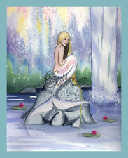 Waterlily Falls Mermaid  print from Original Painting By Grimshaw
