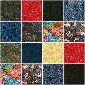 100% Cotton Fabric - Fat Quarters - Aboriginal Animal Dot Spot Dreamtime Art