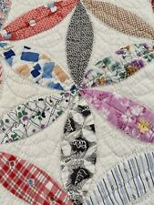 OMG! Vintage Handmade Well Quilted bt Hand Joseph's Coat Feed Sack Quilt 73 x 77