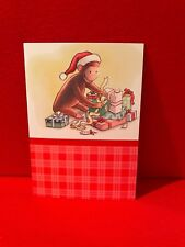 Vtg Curious George Christmas Card Collectible Red Plaid Presents Lights Santa