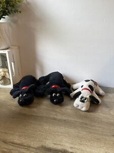 Vintage Pound Puppy 1986 2-BLACK Puppies & White with Black Spots Lot READ!!