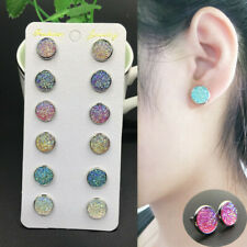 6Pairs Stainless Steel Shiny Austrian Crystal Round Stud Earrings Jewelry Set Sl