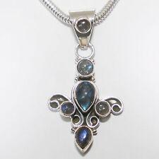 Pendentif Labradorite Argent 925 pour collier 6 pierres précieuses Cabochon