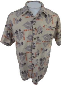 route 66 Men Hawaiian ALOHA shirt p2p 23' M camp yin yang fish asian calligraphy
