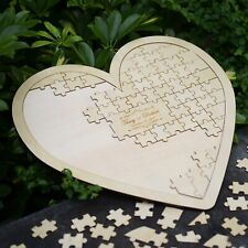 New Cute Customs Personalised Puzzle Heart Shaped Wedding Guestbook Book Hearts