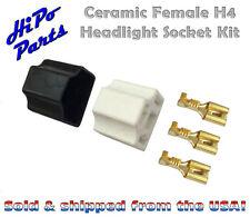 "Ceramic Female H4 Headlight Socket Plug Kit w/ Terminals fits 7"" Round Lamps"