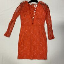 Forever Unique Coral Low V-Neck Open Long Sleeve Dress Ladies Size UK 12 *REF136
