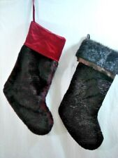 """Two Faux Fur Christmas Stockings Pottery Barn Currant Plush 20"""" & Brown 19"""""""