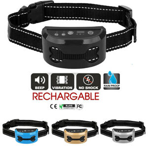 Waterproof Anti Bark Dog Collar Stop Barking Sound&Vibration Rechargeable S/M/L