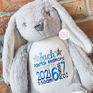 Large Personalised Bunny Rabbit - Embroidered Teddy - New Baby Christening Gift