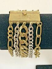 "Signed SILPADA KR Bracelet 5 Strand Gold & Silver Chains 7.5"" x 1.5"""