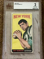 🔴 1965 JOE NAMATH Rookie card #122 New York Jets BVG 3 Very Good 🔴